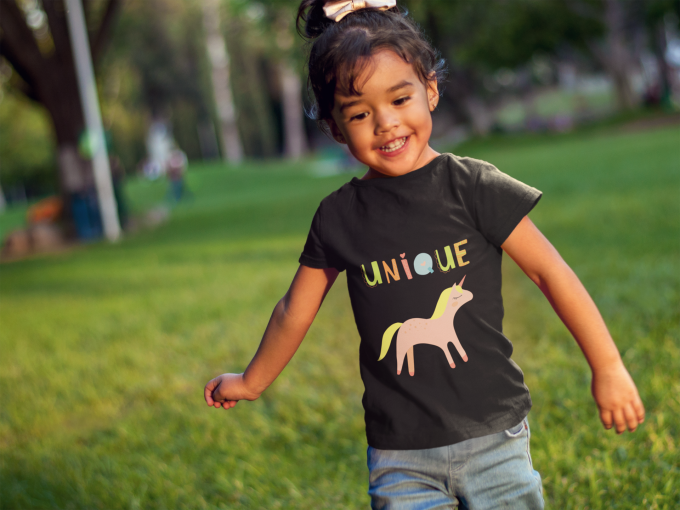 Unique unicorn shirt with rainbow letters and pink unicorn
